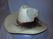 """Vintage Stetson Road runner straw Cowboy hat 21"""" inside Circumference Preowned"""