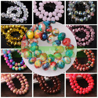 Wholesale 50~500pcs 4/6/8/10mm Rondelle Faceted Crystal Glass Loose Spacer Beads