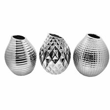 Set of 3 Silver Porcelain 13cm Bud Vase Ornaments Contemporary Home Accessories