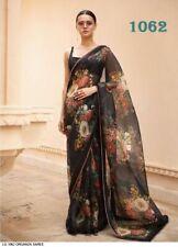 Organza Black Floral Print Sari Saree Party Wear Lehenga Choli Indian Designer