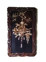 Antique Japanese Lacquered Carved Inlaid Shibayama Meiji Period Wall Panel Decor