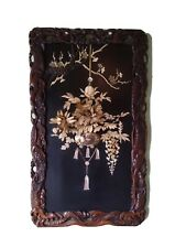 More details for antique japanese lacquered carved inlaid shibayama meiji period wall panel decor