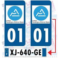 REGION 01 AUVERGNE RHONE ALPES / 2 STICKERS PLAQUE D IMMATRICULATION DEPARTEMENT