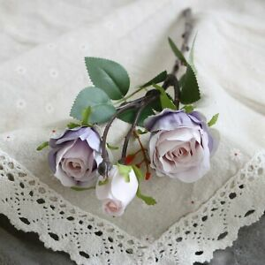 1pc Rose Artificial Silk Flower with Leaves Wedding Home Room Decoration Flowers