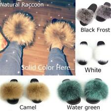 2020 Solid Color Genuine Fox Fur Slipper Sandals Shoes Slider Slides Flat Slades