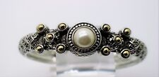 B328 Exquisite Design Silver Weave Cable circle white pearls cuff Bracelet