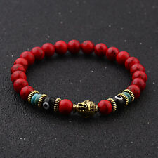 Red Natural Stone Eyes Beads Gold Buddha Head Men Bracelets Charm Jewellery