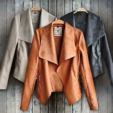 Women Punk Slim Biker Motorcycle Short Jacket Lady Lapel PU Leather Coat Outwear