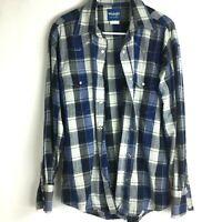 Wrangler Mens Pearl Snap Plaid Long Sleeve Shirt Size L