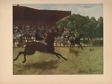 "1951 Vintage DEGAS ""THE FALSE START"" HORSE RACING COLOR Art Print Lithograph"