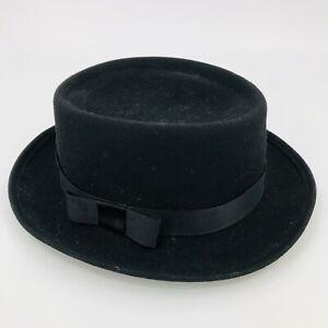 Vintage Womens Bollman Hat Doeskin Felt 100% Wool Black Ribbon Bow Derby