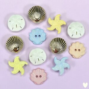 Buttons Galore Beach Treasures 4246 -  Sea Star Fish Ocean Shells Dress it Up