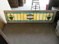 ~ COLORFUL ANTIQUE STAINED GLASS TRANSOM WINDOW ~ 60.75 x 16 ~ SALVAGE