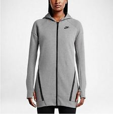 Nike Women Tech Fleece Cocoon Mesh Hoodie - 725844 091 -  Sz-XS - Carbon/Heather