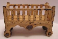 Old 1920s Miniature Kilgore Cast Iron Dollhouse Furniture Childs Crib on Wheels