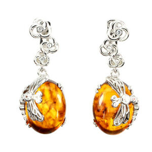 Natural Oval Amber Poland 16x12mm Cubic Zirconia 925 Sterling Silver Earrings