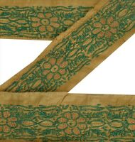 Vintage Sari Border Antique Embroidered 1 YD Indian Trim Sewing Green Decor Lace