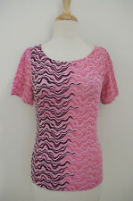 WOLFORD pink black Lace Top sz S scoop neck Short sleeve *flaw