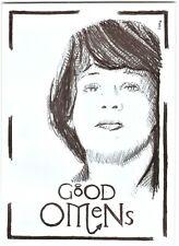 ACEO Art Sketch Card Good Omens Series Sam Taylor Buck as Adam Ink Drawing