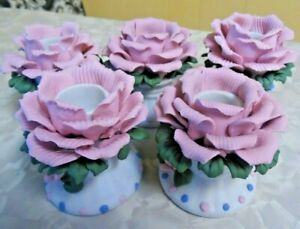 5 Beautiful Pink Rose Porcelain Candle Holders