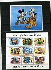 Guyana 1995 Disney Characters At Works Sheet Of 9 Stamps & S/S Mnh