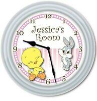 Personalized Tweety Bugs Bunny Nursery Baby WALL CLOCK - Girls Room Decor GIFT