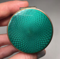 Antique Charles Thomae Green Guilloche Enamel Sterling Silver Stamp Roll Box