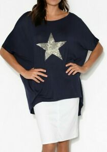 Star Sequins Jersey Top Blue Short Sleeve Stretch sizes 10 12 14 16 18 20 NWT