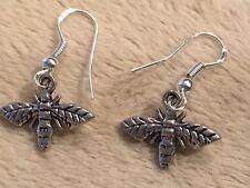Cute New Tibetan Silver Bumble Bee / Hornet Charm Dangle Drop Earrings