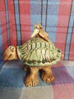 Vtg Wild Earth Studios Ceramic Pottery Figurine Turtle W/ Bird Back Marked Lila
