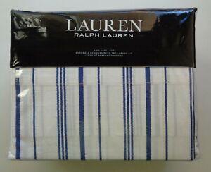 Ralph Lauren ALEXIS STRIPE KING 100% Cotton Extra Deep Sheet Set Blue Cream 4 PC