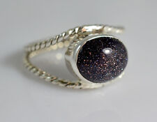 Black Gold Stone Silver Ring 925 Solid Silver Handmade Jewelry Size F- Z 1/2 UK