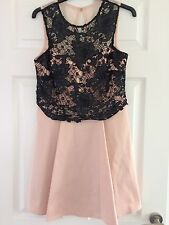 STUNNING NEW Lipsy Black and Pink Sequin Lace Prom/wedding/Party Dress-Size 12
