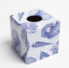 Blue Shells Tissue Box Cover Holder  wooden handmade decoupaged uk Kleenex