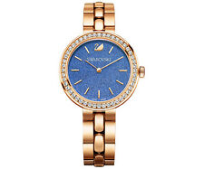 NEW WOMENS SWAROVSKI (5182277) SWISS DAYTIME ROSE GOLD BLUE DIAL WATCH