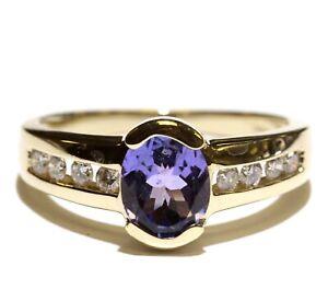 14k yellow gold .24ct SI1-2 H diamond tanzanite gemstone ring 3.6g estate 7.25
