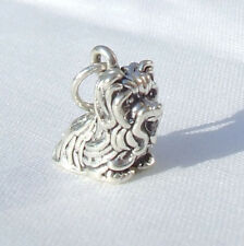 YORKSHIRE TERRIER SITTING DOG 3D 925 CHARM STERLING SILVER