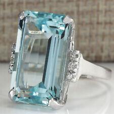 Riesige 925 Silber Frauen Schmuck Aquamarin Edelstein Hochzeit Braut Ring HQ