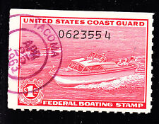 US RVB1 $1 Federal Boating Stamp VF appr VERY SCARCE Census Under 20!