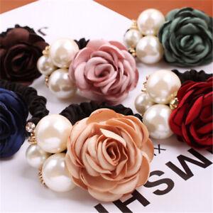Fashion Rose Pearl Elastic Hair Ties Women Scrunchies Ponytail Holder Ring Rope