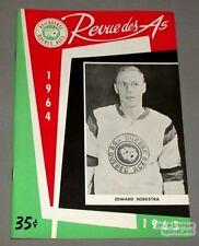 1964-65 AHL Quebec Aces Program Edward Hoekstra Cover