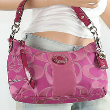NWT Coach Signature Stripe Shoulder Hand Bag Crossbody F19435 Pink Fuchsia New