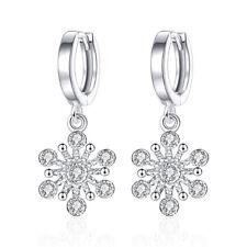 925 Sterling Silver Zirconia Snowflake Drop Dangle Earrings Women Jewelry Gitfs