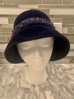 Vintage Women's Marshall Field & Company Hat Cloche Bucket Imported Fur Purple