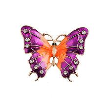 Spilla Dorato Farfalla Insetto Smalto Multicolore Viola Arancione Semplice
