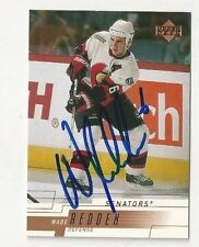 00/01 Upper Deck Autographed Hockey Card Wade Redden Ottawa Senators