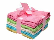 DELUXE SOFT COTTON WASHCLOTHS TOWELS 10PC COLORED SET HOME BATH SPA FACE BODY