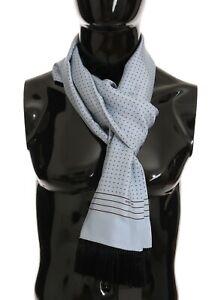 DOLCE & GABBANA Scarf Blue 100% Silk Polka Dot Shawl Wrap 32cm x 180cm RRP $500