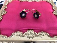 Betsey Johnson Vintage Vampire Slayer Crystal AB Purple Rose Flower Earrings