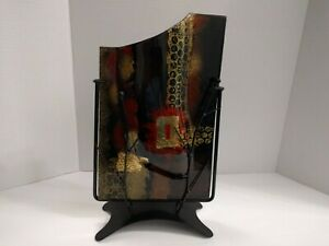 A Stunning Brown Gold Jasmine Art Glass 14-Inch Wedge-Top Vase with Metal Stand